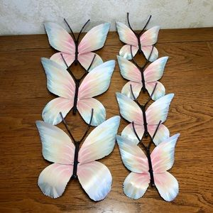 Metal pastel painted wall art butterfly set